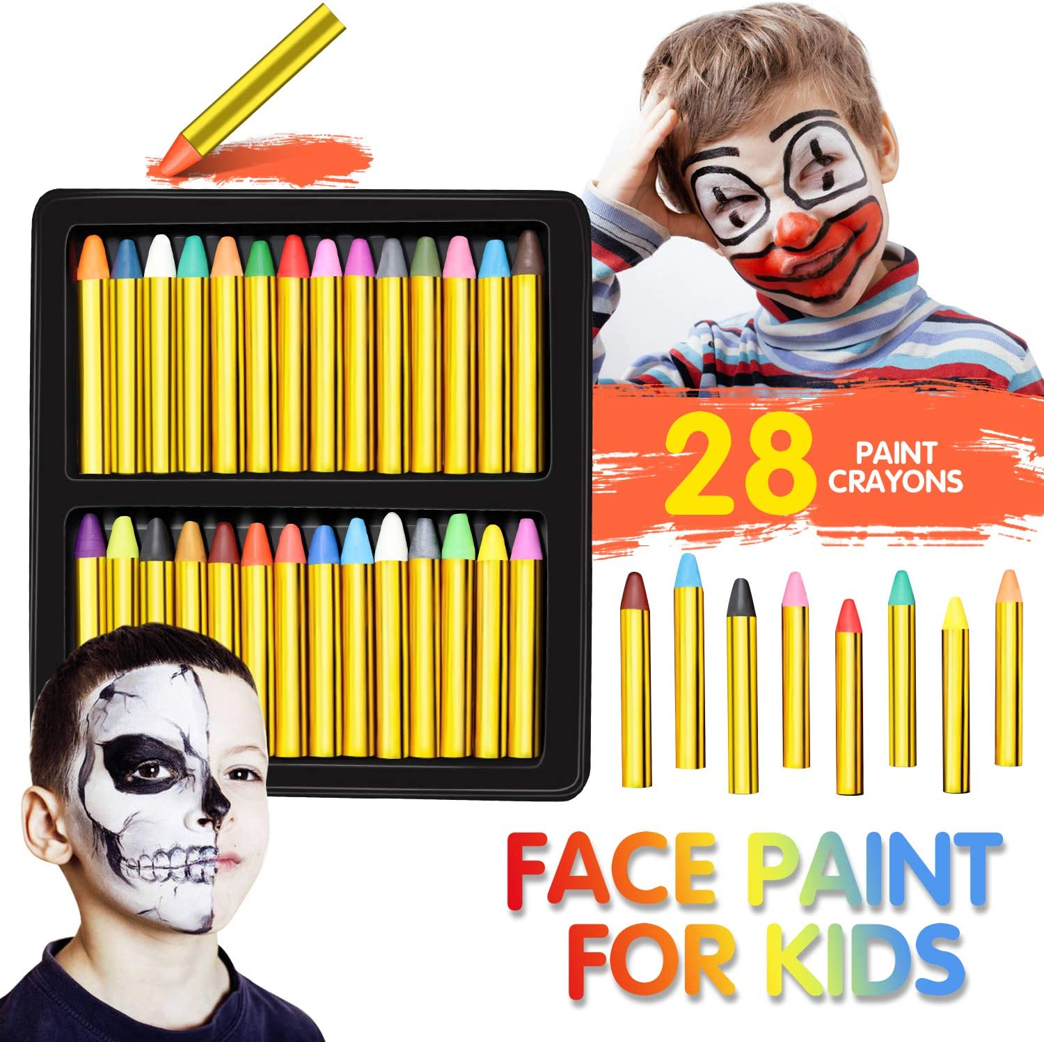 Face Paint, Panvox 28 Colors Crayons Body Face Painting Kits for Kids with No Toxic for Halloween