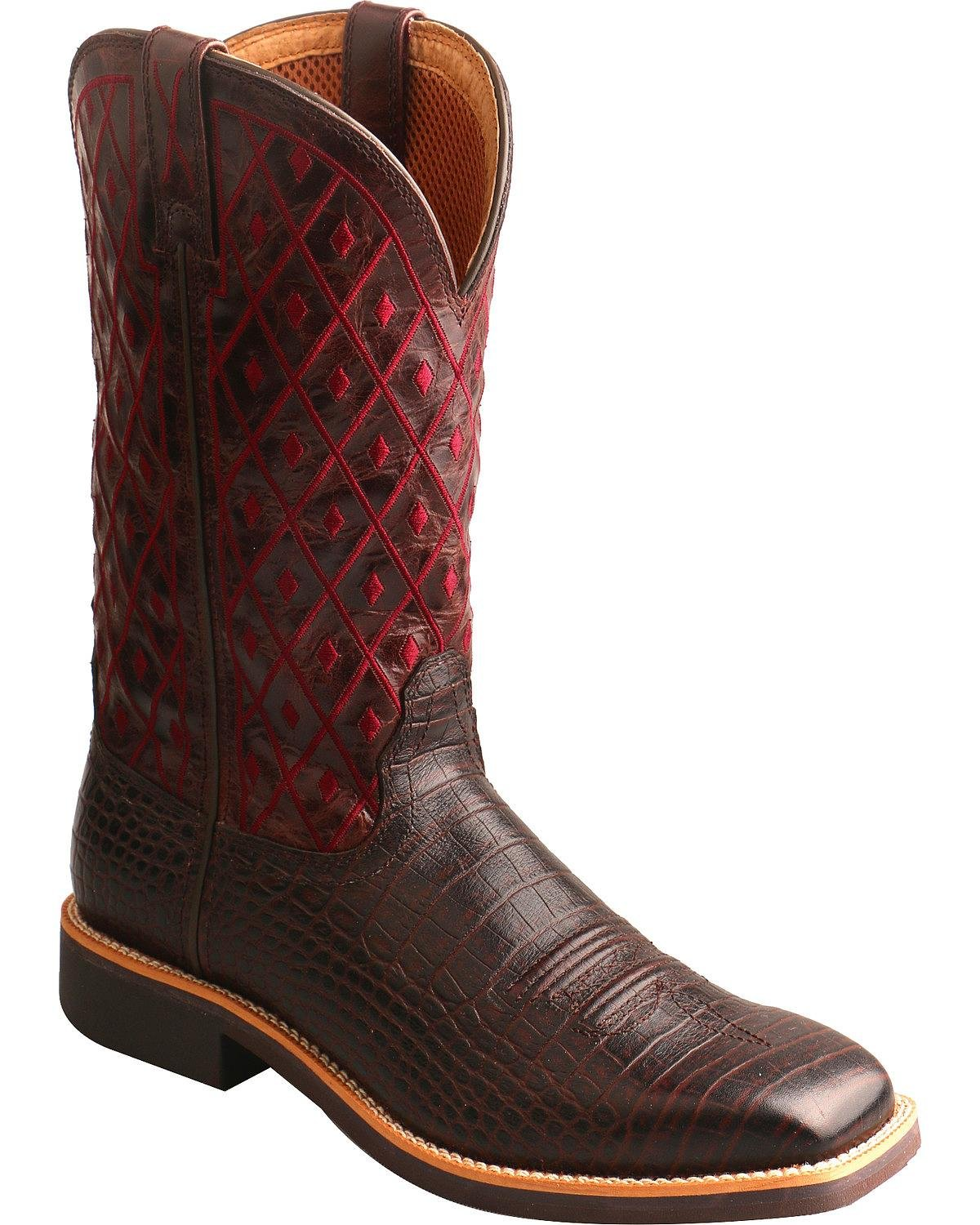 Twisted X Women's Top Hand Caiman Print Cowgirl Boot Square Toe Dark Brown 7 M by Twisted X