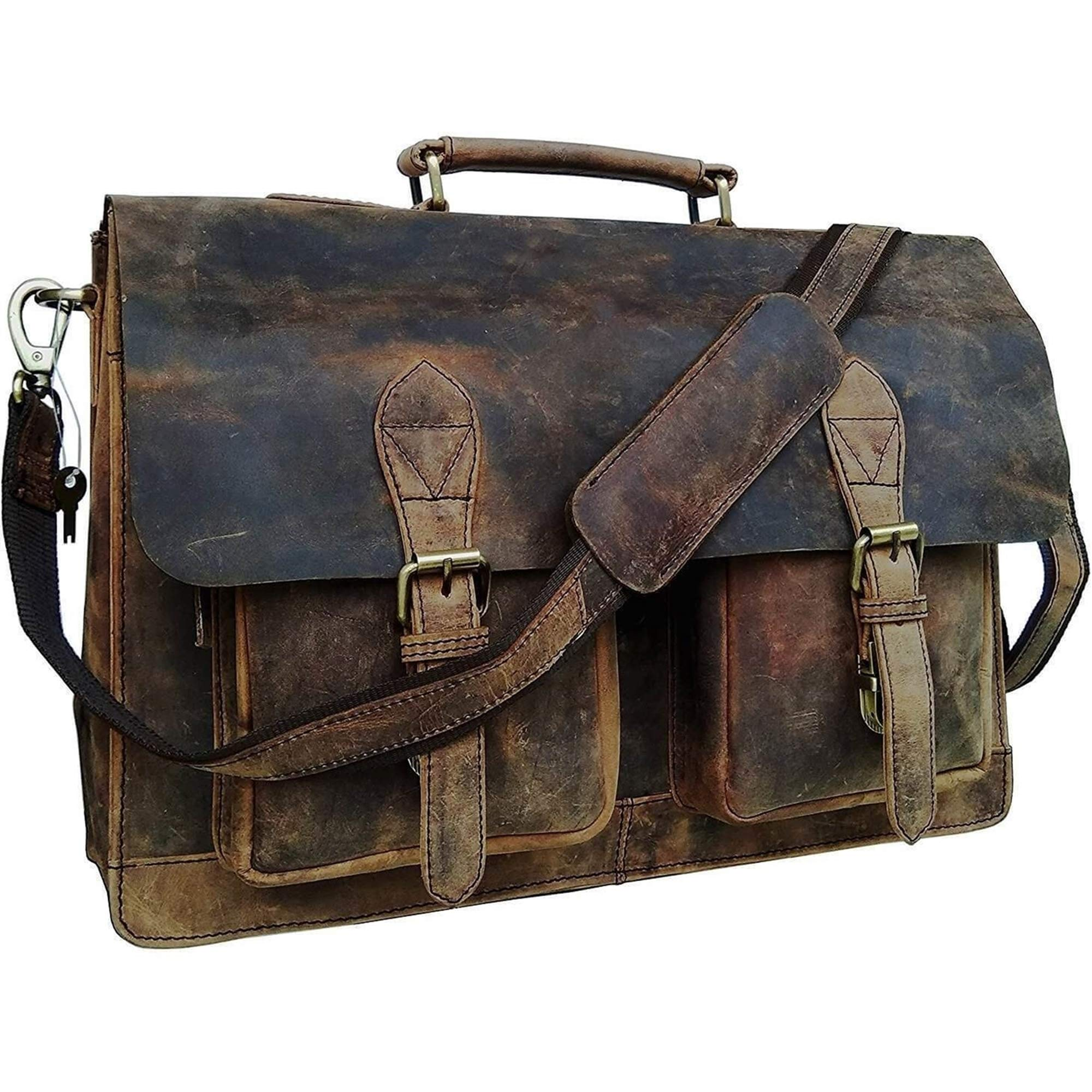 Retro Buffalo Hunter Leather Laptop Messenger Bag Office Briefcase College Bag by Urban Hide (18'') by Urban Hide (Image #1)