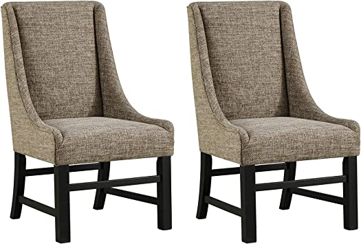 Ashley Furniture Signature Design - Sommerford Dining Arm Chair - Set of 10  - Casual - Brown Upholstery - Black Wood Frame