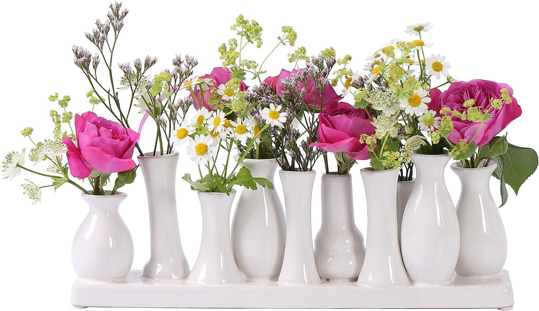 Jinfa Handgefertigte Kleine Keramik Deko Blumenvasen Set Aus 10 Vasen In Weiß