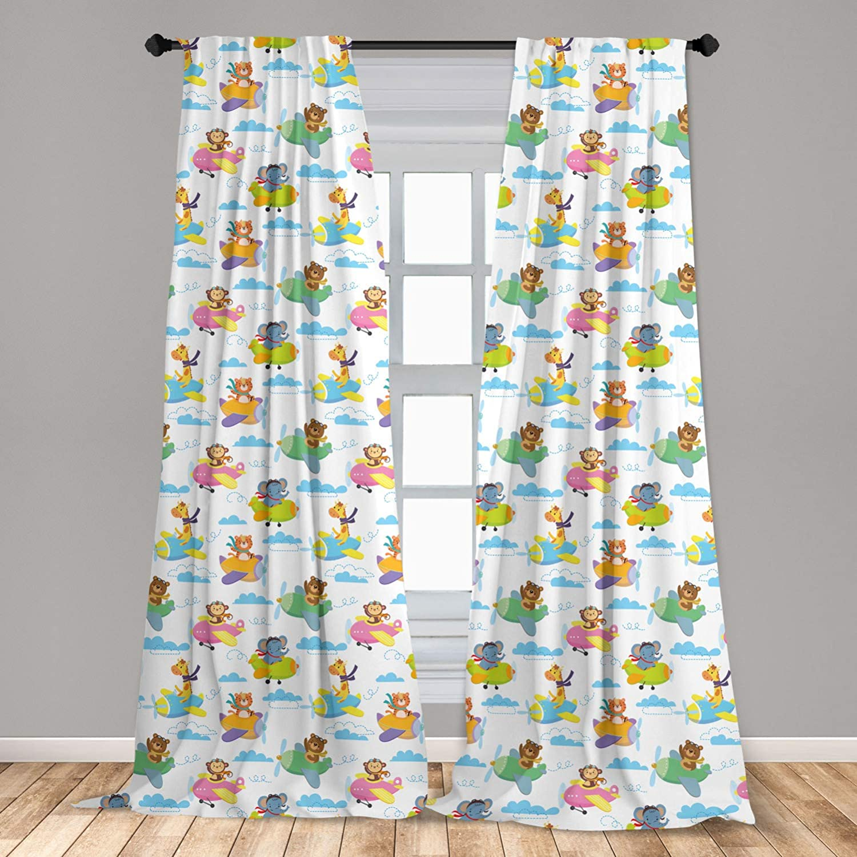 "Ambesonne Adventure Nursery 2 Panel Curtain Set, Baby Forest Animals on Biplane Giraffe Elephant Tiger Bear and Monkey, Lightweight Window Treatment Living Room Bedroom Decor, 56"" x 63"", Blue Pink"