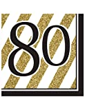 Black and Gold 80th Birthday Napkins