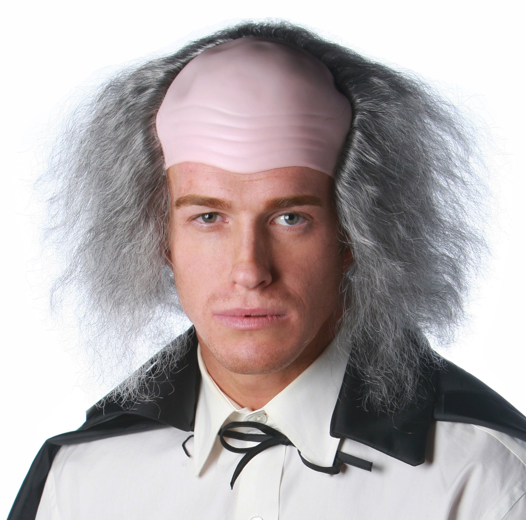 LuxeWigs Deluxe Quality Bald Cap Scary Old Man Theatrical Costume Wig - Gray