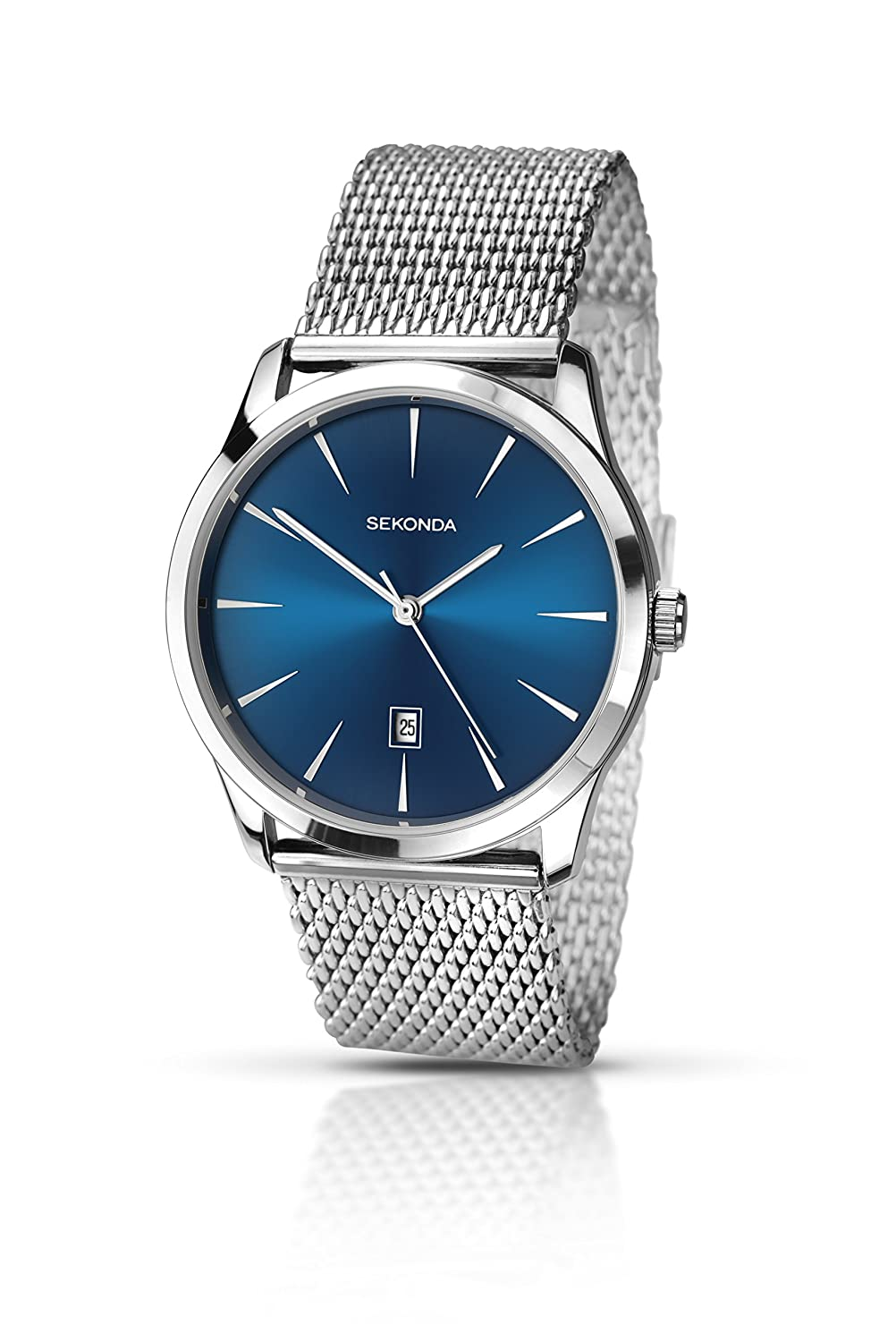 Amazon.com: Sekonda Mens Quartz Watch with Blue Dial Analogue Display and Silver Stainless Steel Bracelet 1065.27: Watches