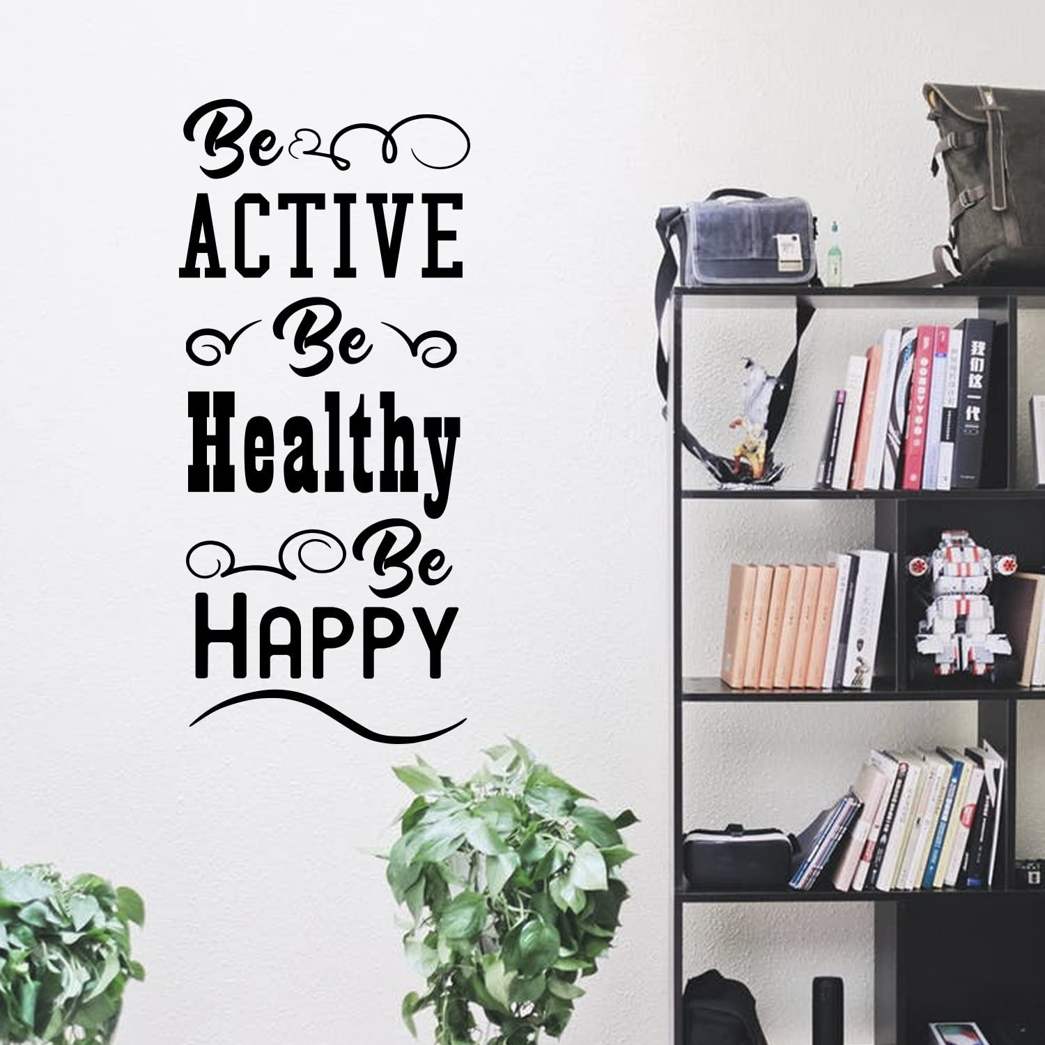 """Be Active Be Healthy Be Happy - Inspirational Gym Quote - Wall Art Decal - 40""""x 18"""" - Motivational Life Quotes Vinyl Decal - Bedroom Wall Decoration - Living Room Wall Art Decor"""