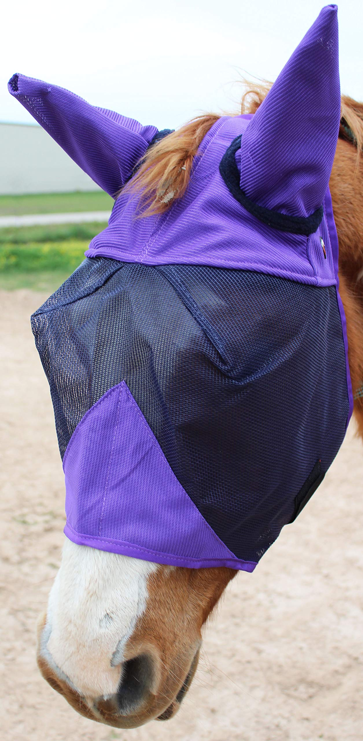 CHALLENGER Equine Horse Fly Mask Summer Spring Airflow Mesh UV Mosquitoes 73225PR