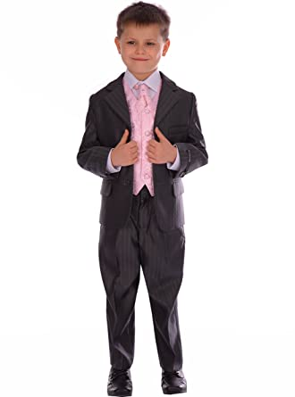 Boys Suit Formal Pageboy Wedding Suits 5 piece Slate Grey ...