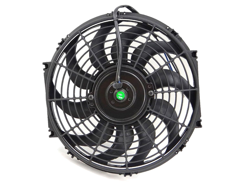 SUPERFASTRACING 14 inch Universal Slim Fan Push Pull Electric Radiator Cooling 12V Mount Kit Black