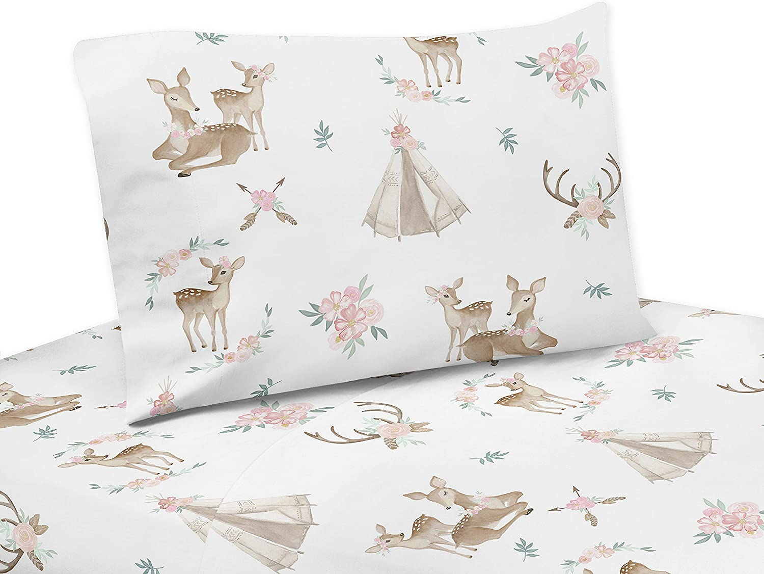 Ambesonne Animal Fitted Sheet /& Pillow Sham Set Decorative Printed 2 Piece Bedding Decor Set Twin Kids Cartoon Style Cheerful Woodland Animals as Bear Mole Deer Rabbit and Snail Multicolor