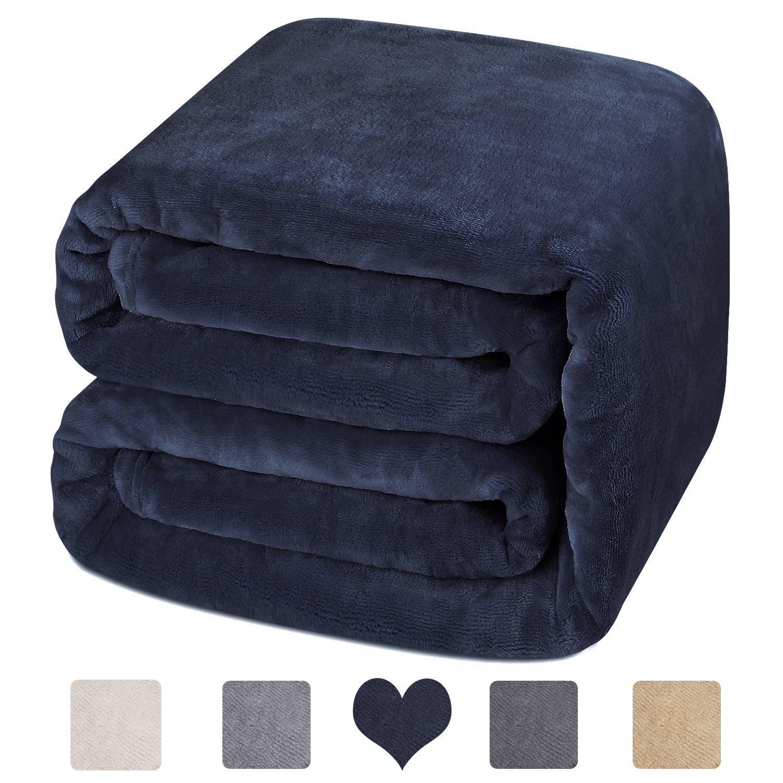 HOMEIDEAS Luxury 380 GSM Fleece Blanket Super Soft Warm Fuzzy Lightweight Bed Blanket (King,Deep Blue)