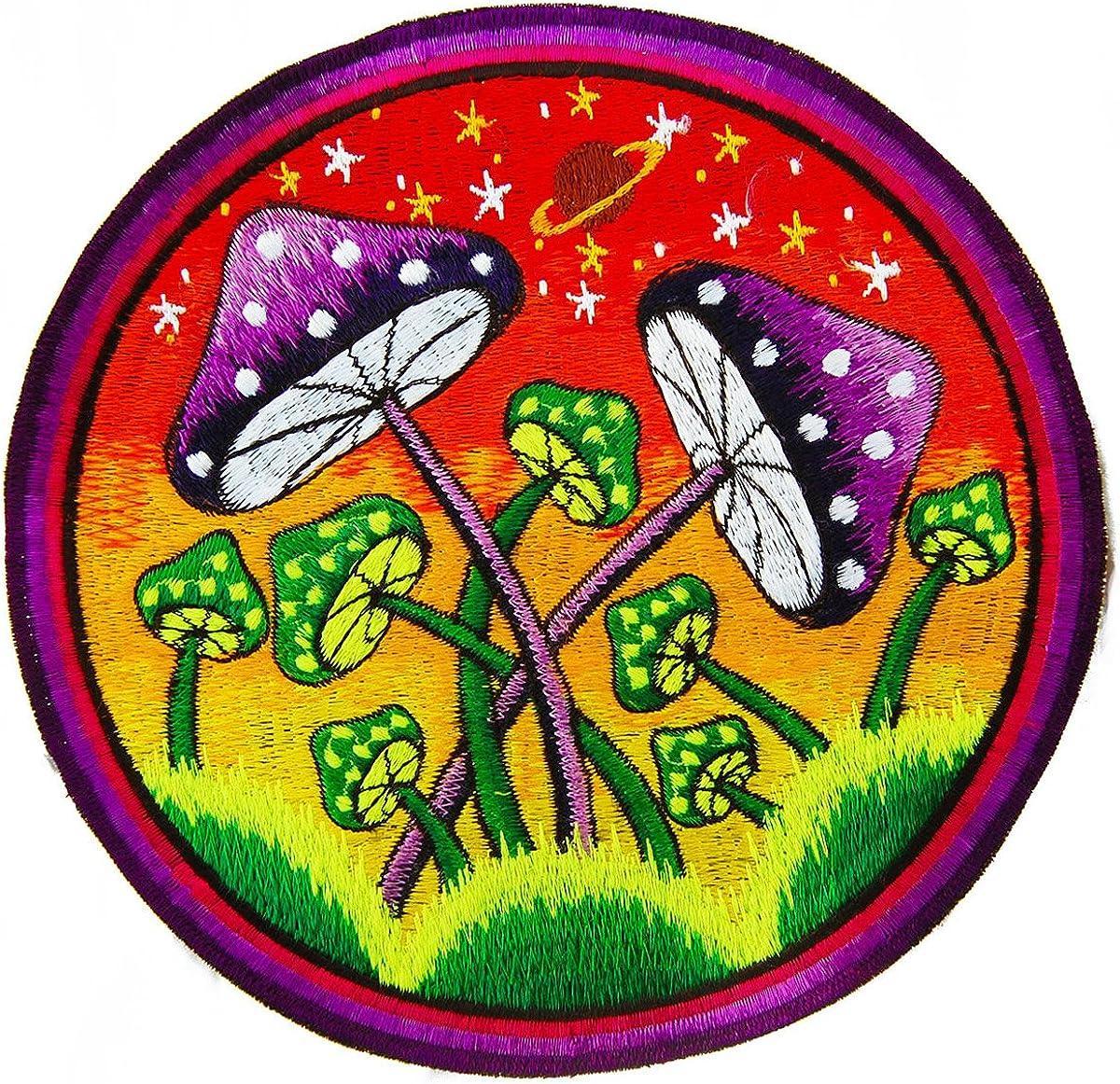 imzauber Bosque Mushroom Planet parche (20cm, Negro Luz activo, handgestickt sin PC) mágica Seta Goa Patch