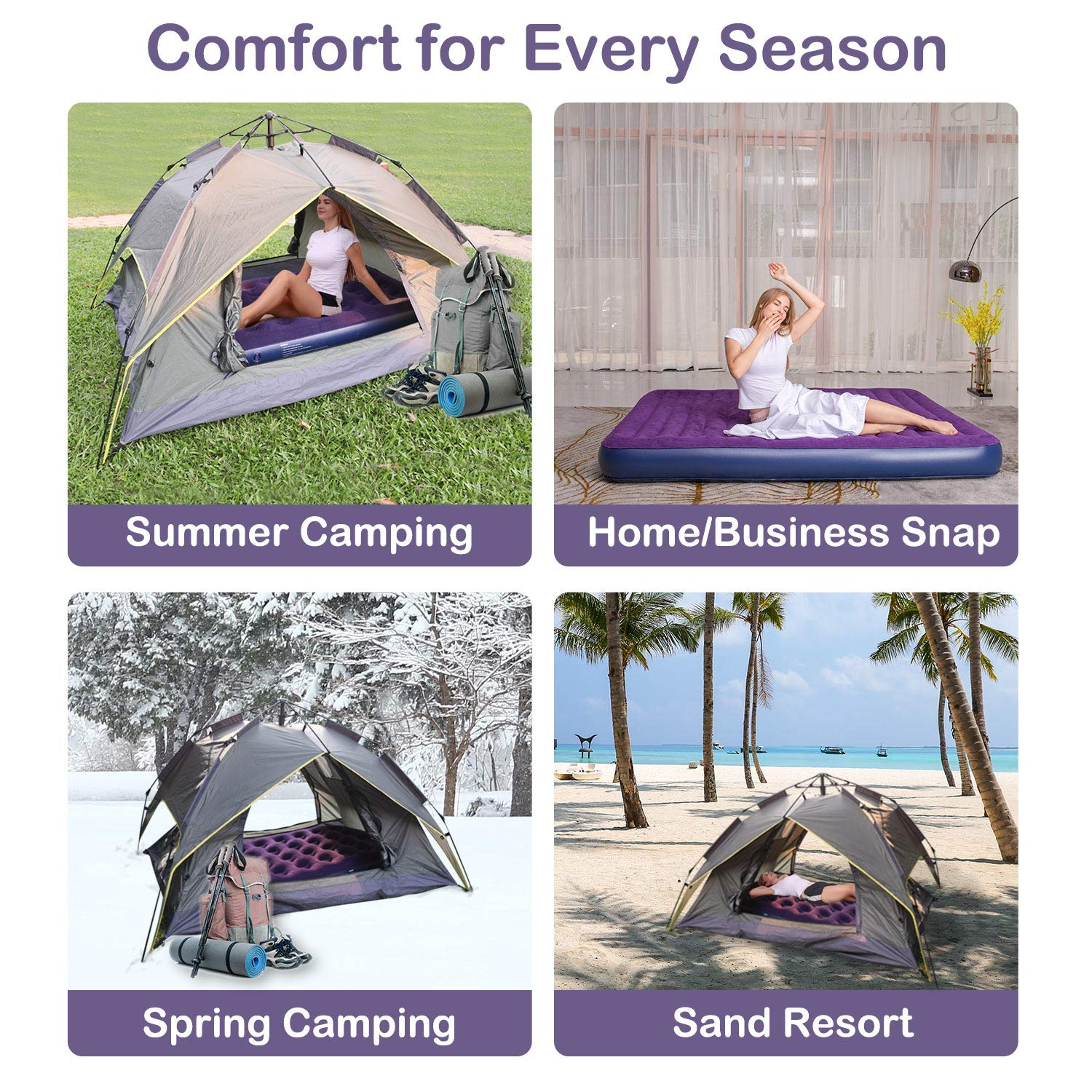 OlarHike Queen Air Mattress, Inflatable Single High Airbed for Guests, Blow up Raised Air Bed for Camping with Electric Air Battery Pump, Purple by OlarHike (Image #8)
