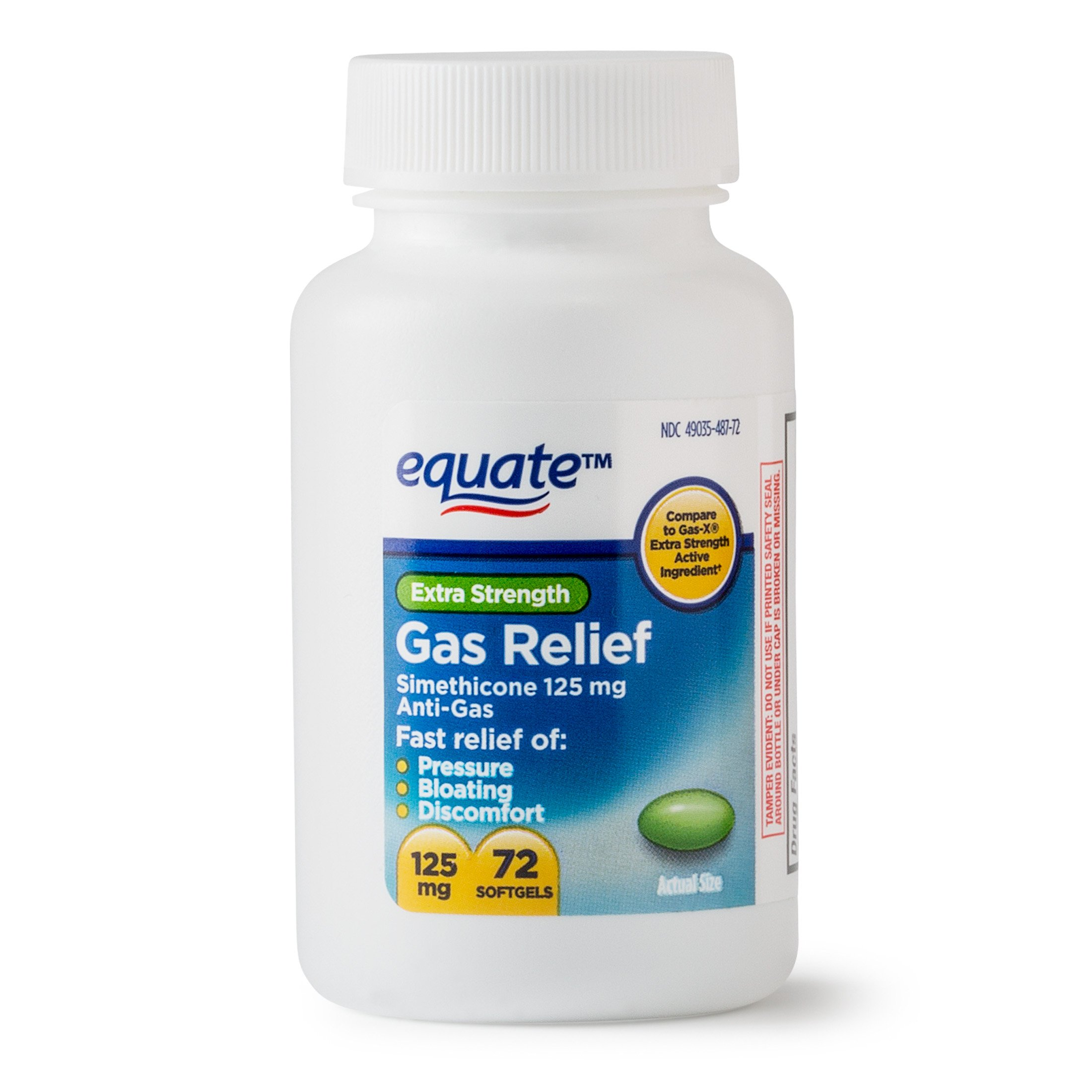 Equate - Gas Relief, Extra Strength, Simethicone 125 mg, 72 Softgels, Compare to Gas-X (2)