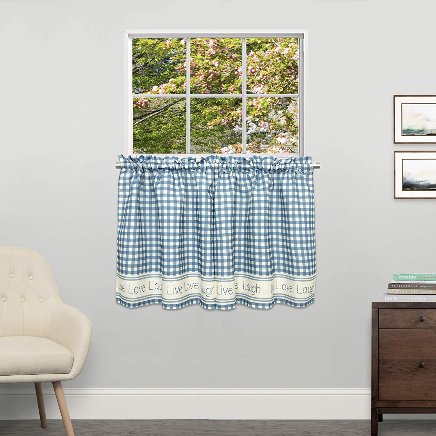 """Sweet Home Collection Kitchen Window Curtain Tier, Swag, or Valance Treatment in Stylish and Unique Patterns and Designs for All Home Décor 24"""", Gingham Stitch Blue"""