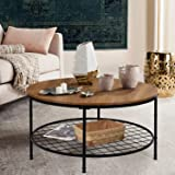 """amzdeal Round Coffee Table Large 35.5"""", Industrial Accent Table with Storage Open Shelf and Sturdy Metal Frame, Easy…"""