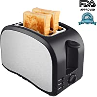 2 Slice Toaster, TOBOX Toasters with 2 Extra-Wide Slots, Removable Crumb Tray, Defrost and Reheat Buttons - Brushed Stainless Steel