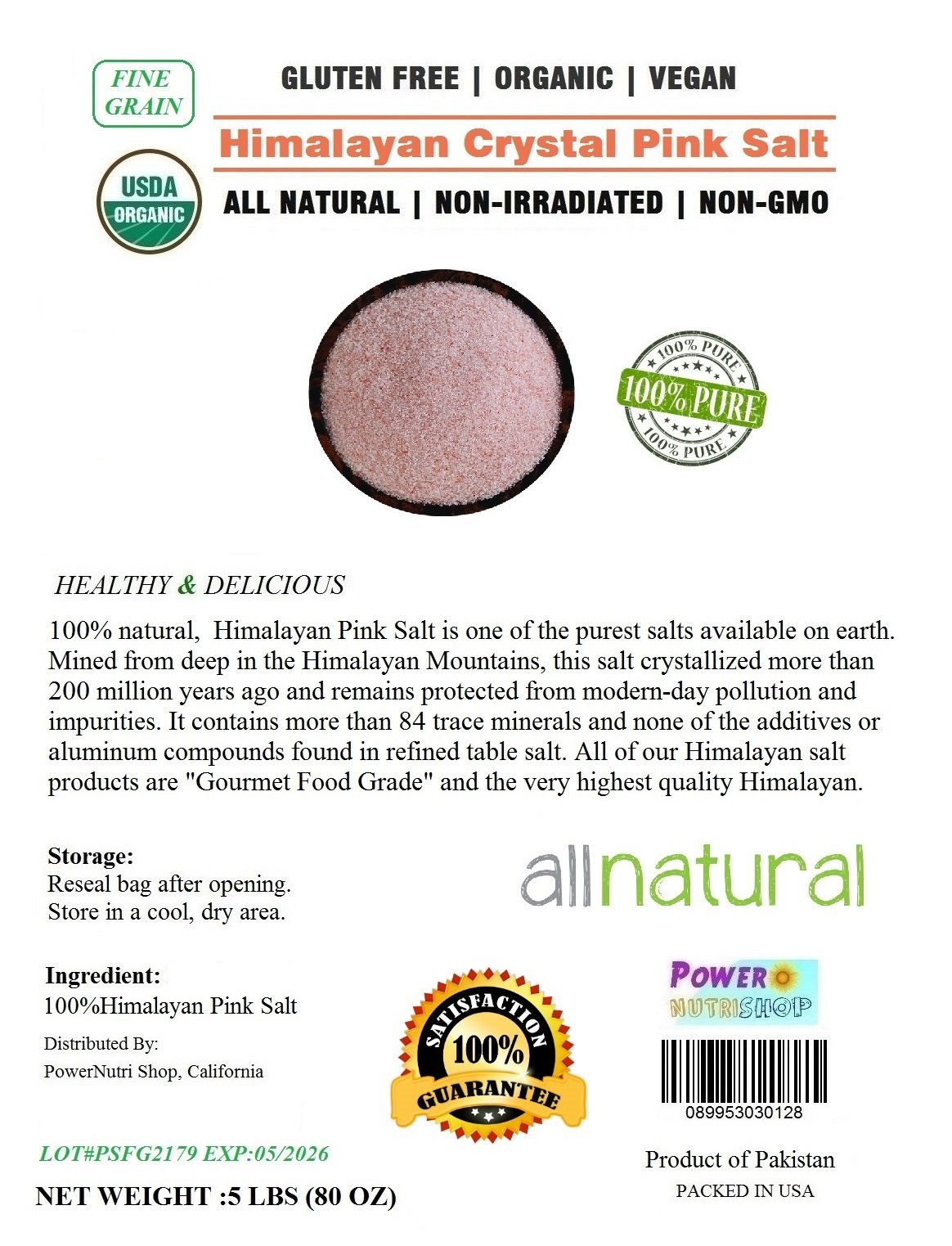 ALL Natural Organic Himalayan Crystal Pink Salt (Fine Grain) Ancient Sea Salt (5 LBS Bag)