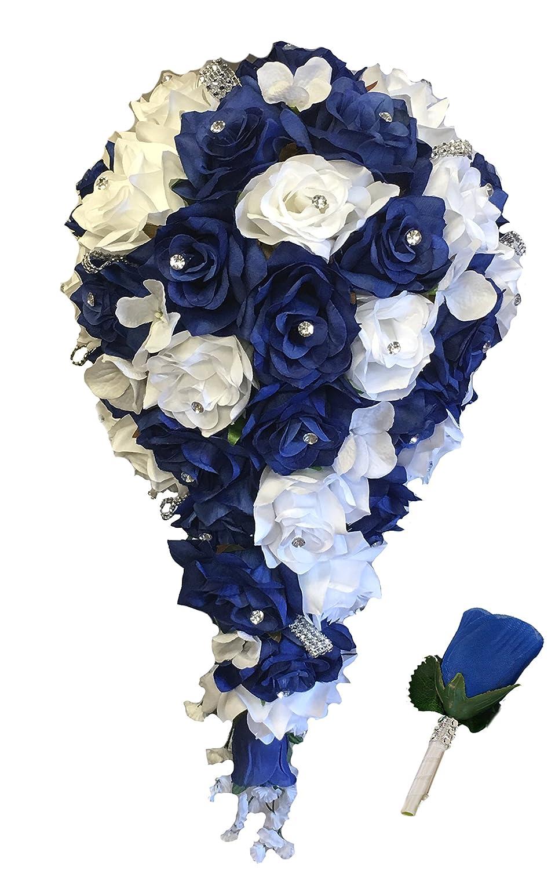Amazon 2pc set cascade bridal bouquet boutonniere wbling amazon 2pc set cascade bridal bouquet boutonniere wbling royal blue white silk flowers home kitchen izmirmasajfo Choice Image