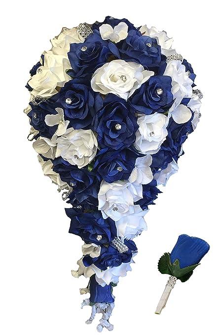 Amazon 2pc set cascade bridal bouquet boutonniere wbling image unavailable mightylinksfo