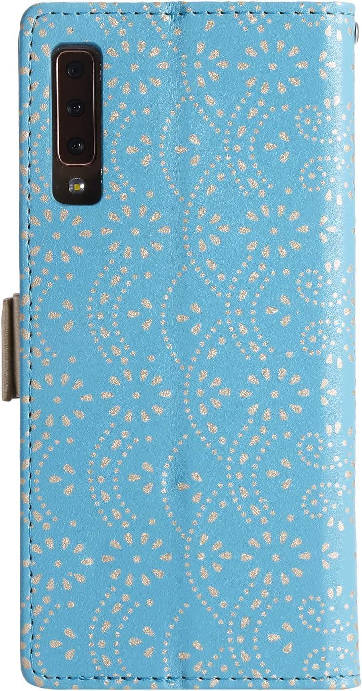 A750,Blau Handyh/ülle Tasche Case H/ülle Leder Klapph/ülle Flip Brieftasche mit Kartenfach Handschlaufe Magnet Geldb/örse Schutzh/ülle f/ür Galaxy A7 2018 A750 H/ülle Vepbk f/ür Samsung Galaxy A7 2018