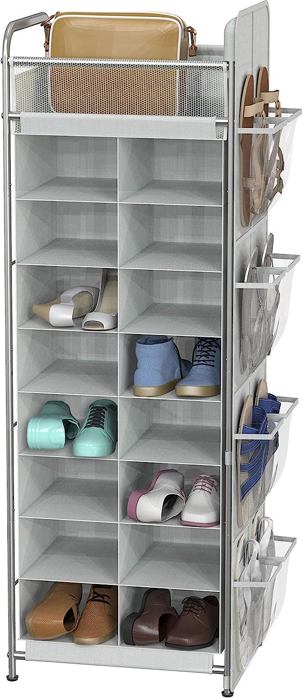 Simple Houseware Shoe Stand Tower Rack w/ side hanging bag 20-Pair, Grey