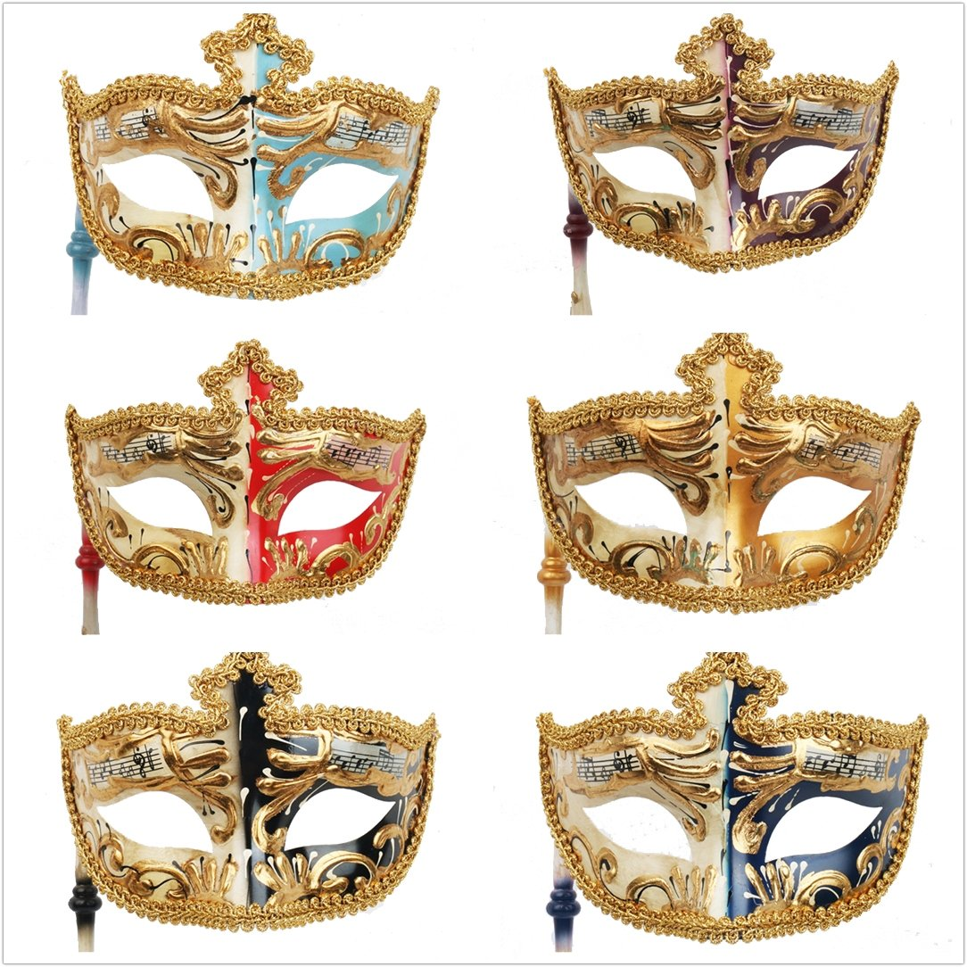YUFENG 6Pcs/Set Vintage Venetian Masquerade Mask Costume Halloween Cosplay Mask For Party/Ball Prom/Mardi Gras/Wedding/Wall Decoration