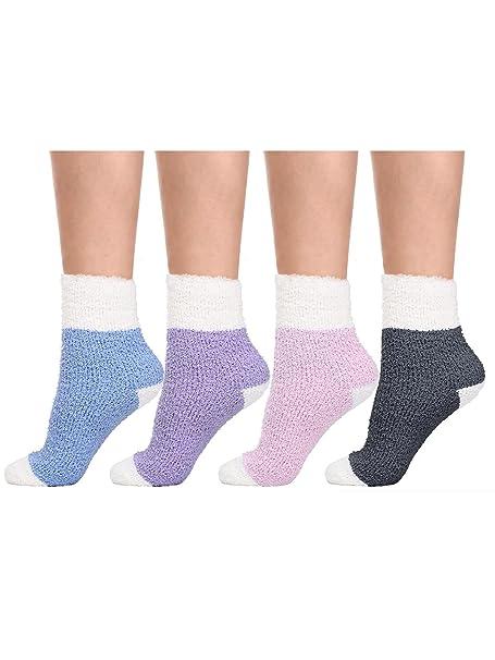 4 Pares de Calcetines de Dormir Calcetines Esponjosos Calcetines Cómodos, 4 Colores: Amazon.es: Ropa y accesorios