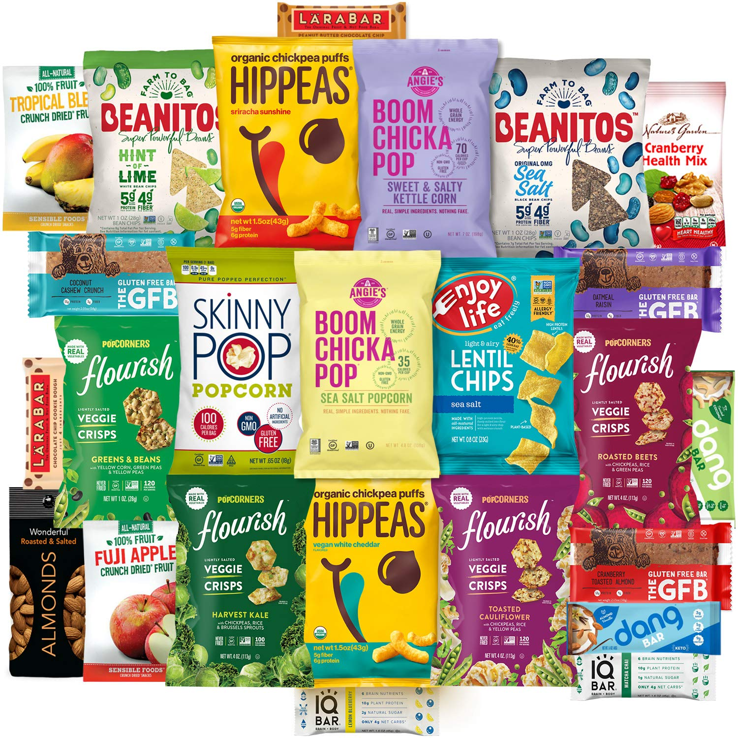 Healthy Vegan Snacks Care Package (25 Count) - Mixed Premium Variety Pack - Includes Assortment of Chickpea Puffs, Popcorn, Chips, Trail Mix, Fruit, Health Bars - Multiple Flavors Fun Snack Gift Box by Snacks Generation (Image #1)