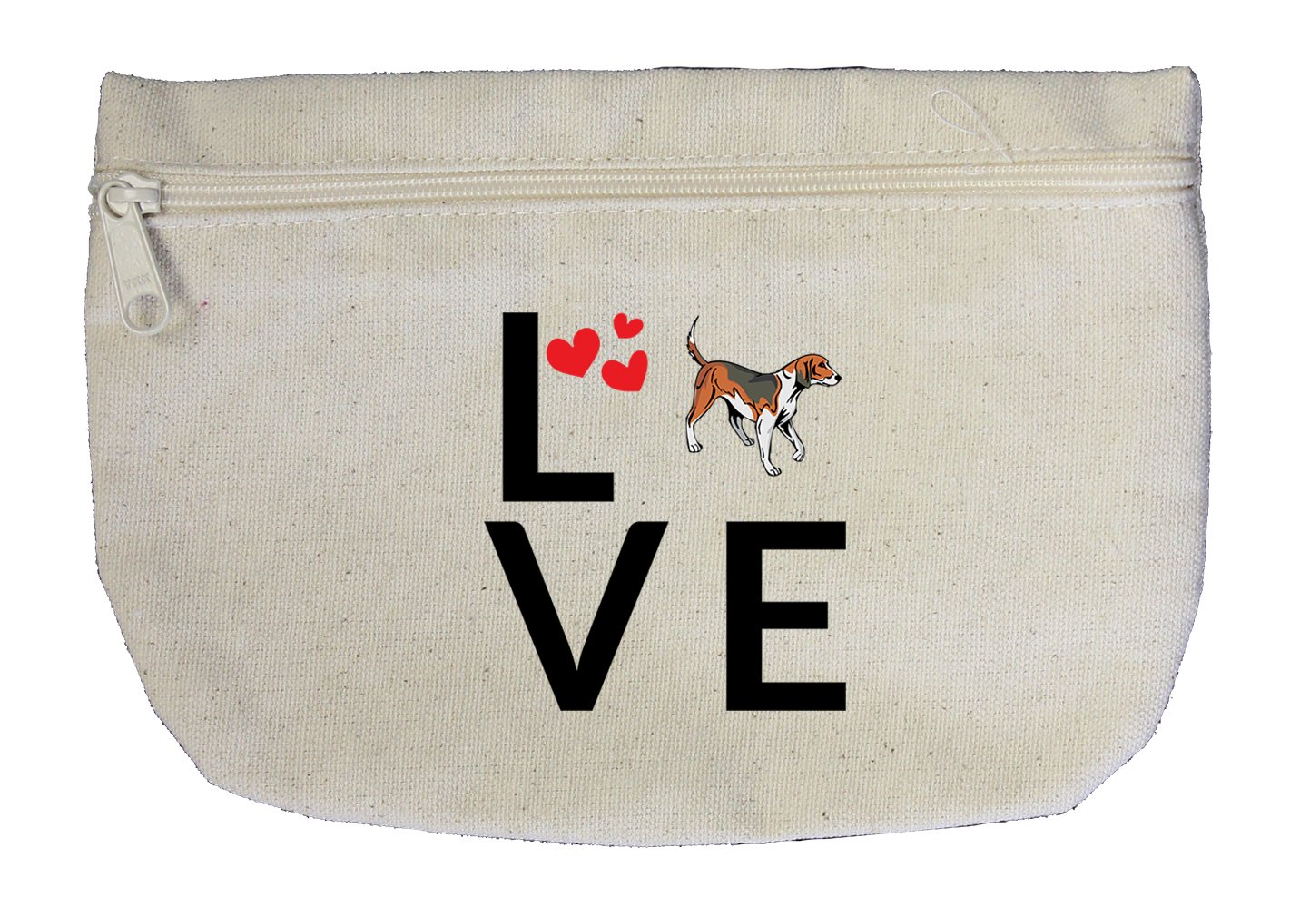 Canvas Zipper Pouch Makeup Bag Love Hearts American Foxhound Dog Style In Print