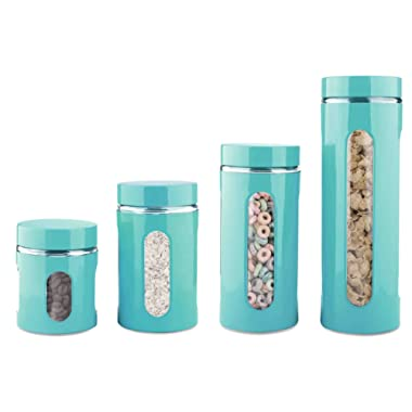Home Basics 4-Piece Glass Canister Cylinder Set with Clear Window (Turquoise)