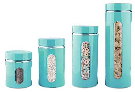 Home Basics 4 Piece Glass Canister Cylinder Set With Clear Window (Turquoise )