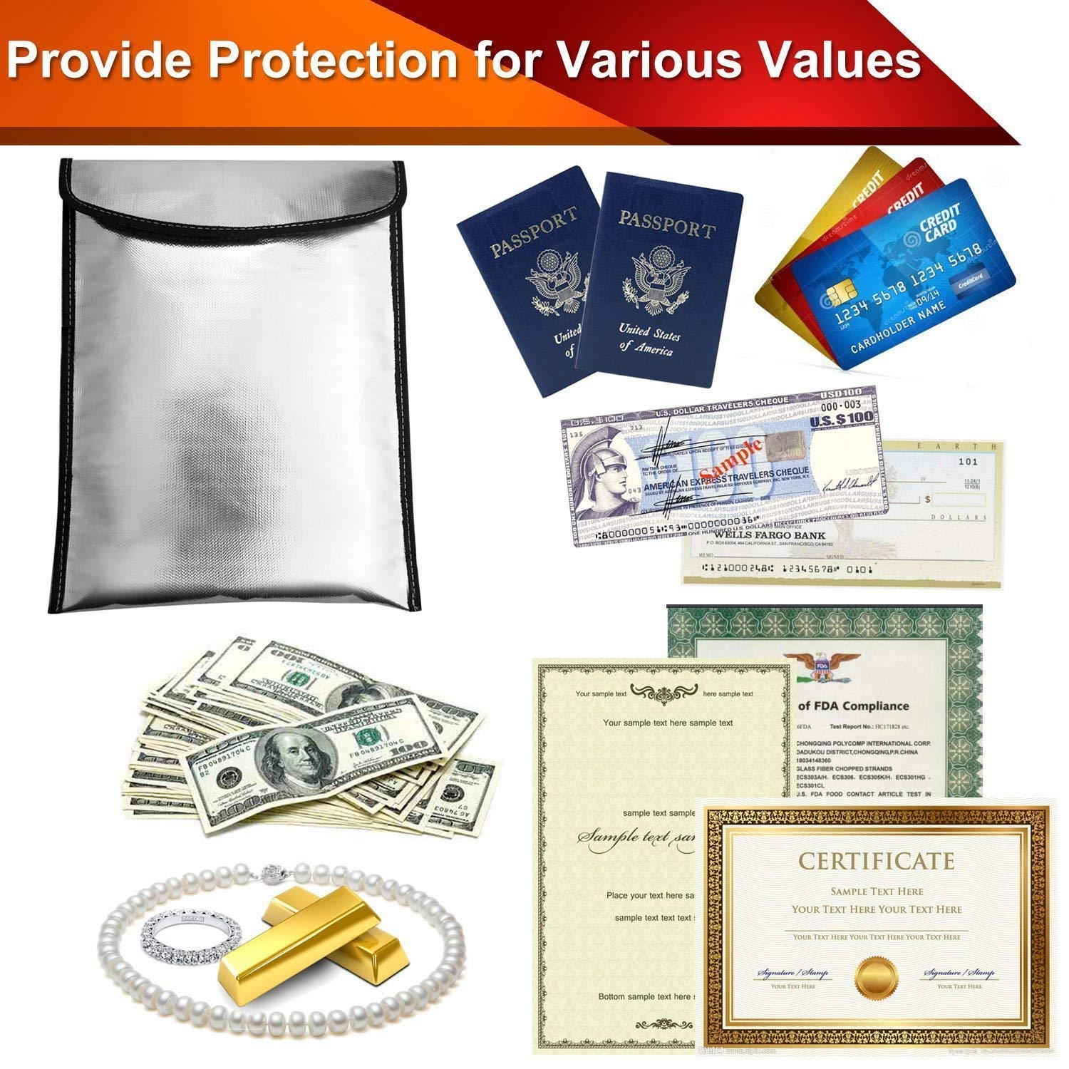 Valuables Safe Storage Bag Fireproof Document Bag 13.4 x 10.2 Fire /& Water Resistant Security Pouch with Velcro Closure