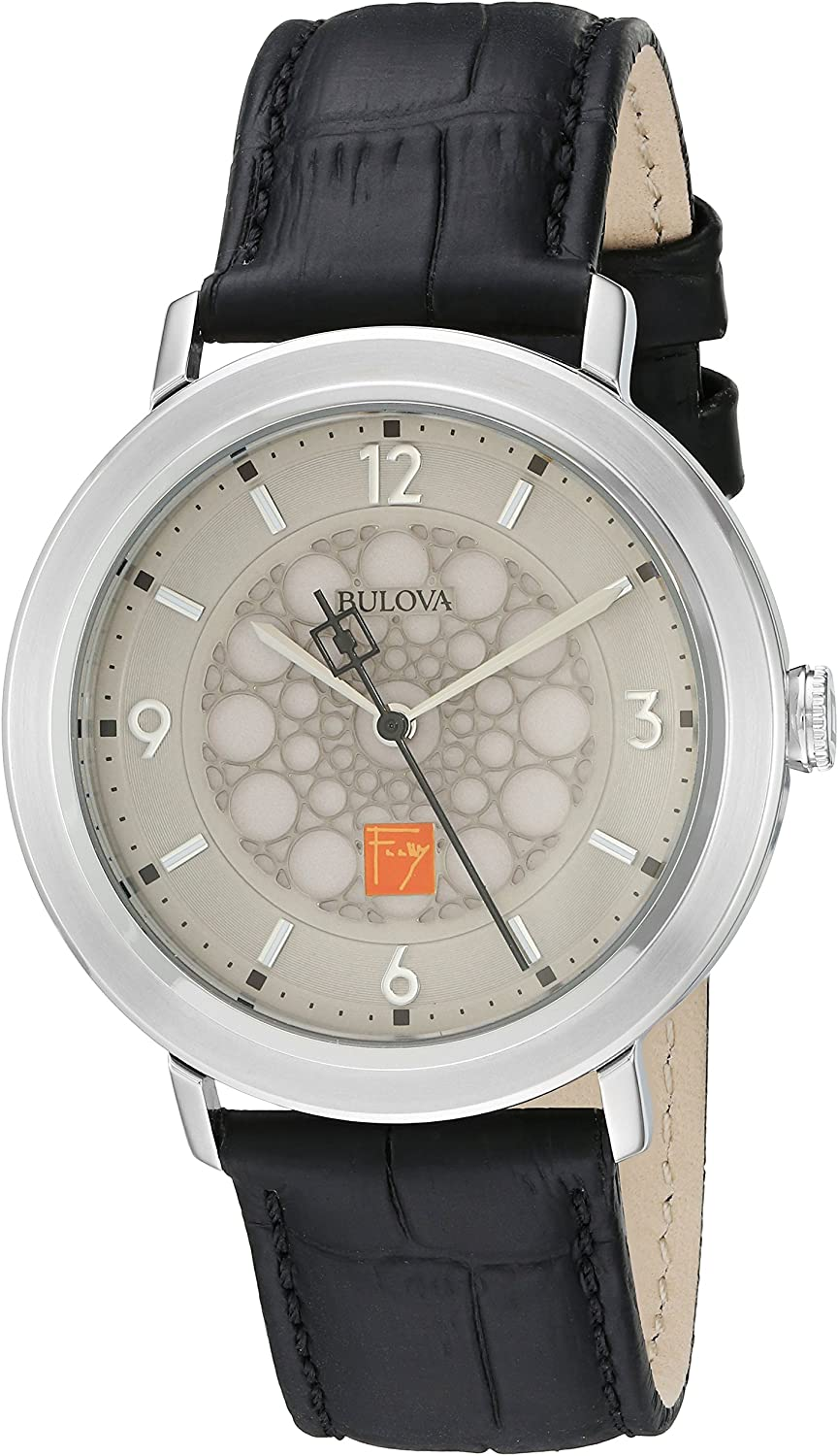 Bulova Men s Quartz Stainless Steel and Leather Dress Watch, Color Black Model 96A164