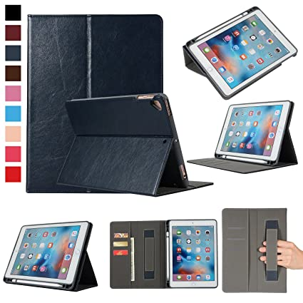 online retailer 8b2f1 fc22f Smart Case for iPad 9.7 with Apple Pencil Holder and Card Slots, EpicGadget  PU Leather Apple Pencil Holder Case Cover for iPad 9.7 2018, 2017, iPad ...