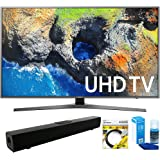 "Samsung (UN40MU7000) 40"" UHD 4K HDR LED Smart HDTV, Black (2017 Model) With Wi-Fi with Solo X3 Bluetooth Home Theater Sound Bar + 6ft HDMI Cable + Universal Screen Cleaner for LED TVs"