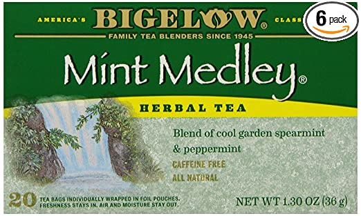 Bigelow Mint Medley Herbal Tea, 20-Count Boxes (Pack of 6)