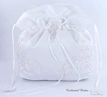 Amazon.com : Satin Bridal Wedding Small Money Bag with Pearl ...