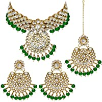 I Jewels Indian Bollywood Gold Plated Kundan Pearl Wedding Choker Necklace Jewelry Set for Women