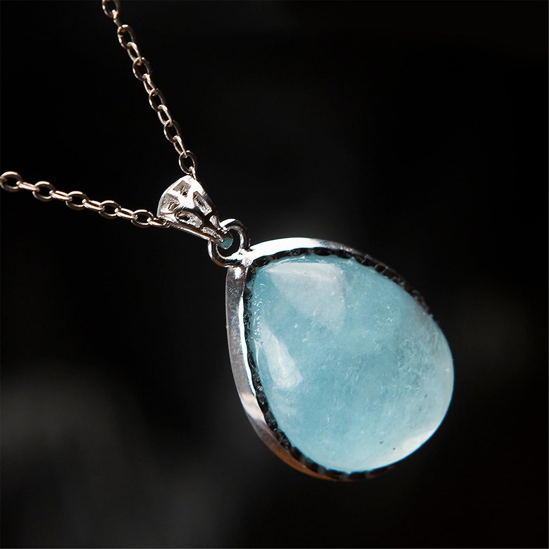 KISHIKO Aqua Marine Blue Genuine Quartz  Drop Gem Stone Bead Pendant Sakura Flower Charm 14K Gold Plated Necklace Jewelry Jewellery Gift