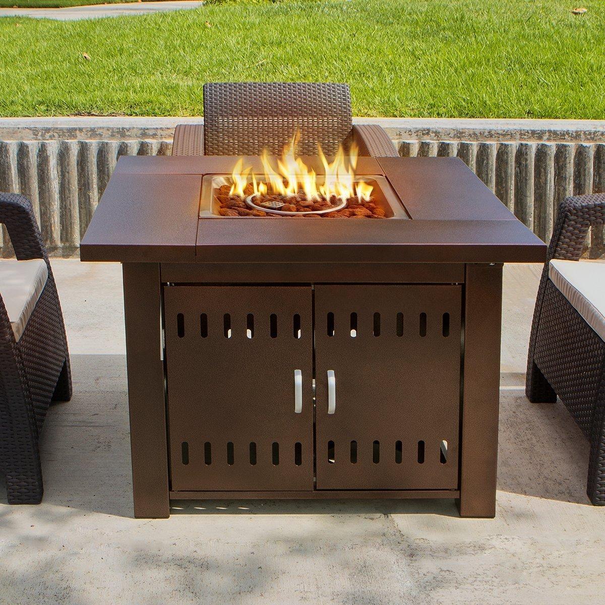 Amazon.com: Belleze Outdoor Patio Heaters 40,000BTU LPG Propane Fire Pit  Table, Hammered Bronze, CSA: Garden U0026 Outdoor