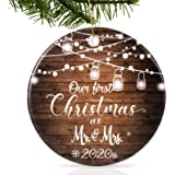 Tmflexe 2020 First Christmas Ornament Decorations Mr & Mrs Couple Married Wedding Decoration Tree Hanging Ornaments Kits Acce