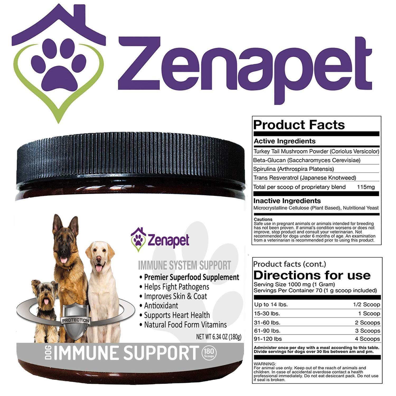 Zenapet Dog Immune Support-Immune Booster for Dogs-Safeguard Your Dog's  Immune System-Premier Superfood Supplement for Your Pet-Natural Vitamins  for