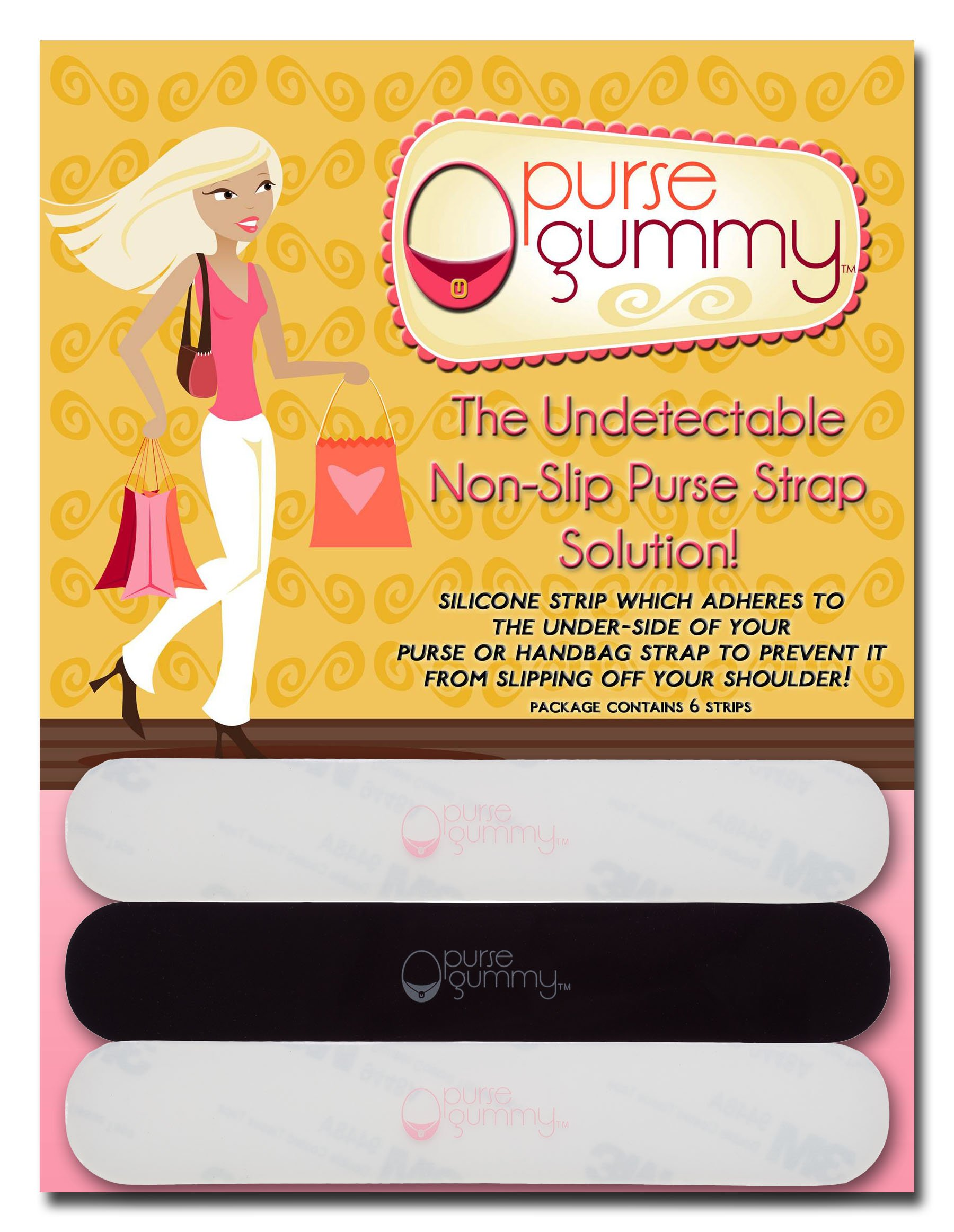 Purse Gummy The ORIGINAL Non Slip Shoulder Bag and Purse Strap Grip Accessory - SET of 6 PIECES Variety Pack: 3 Semi-Clear and 3 Black Strips