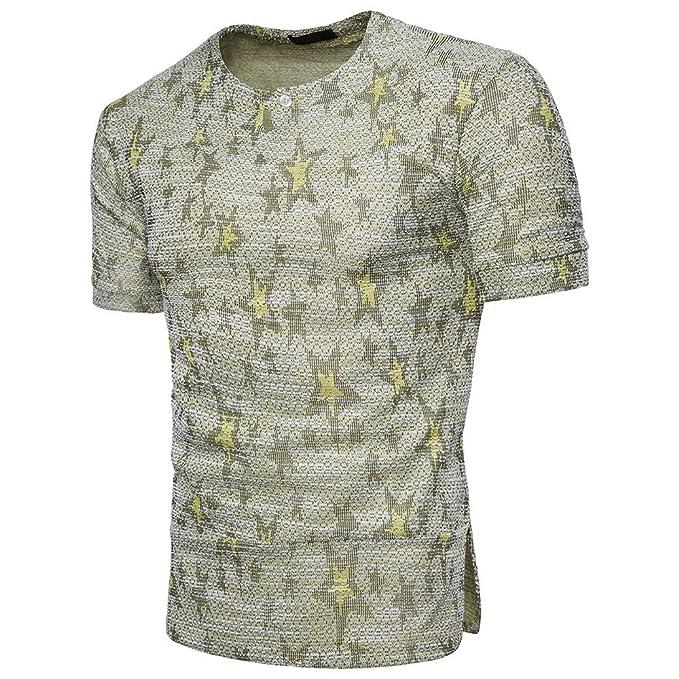 Internet_Hombre Moda de Verano Camiseta de Manga Corta en algodón y Jacquard,Manga Corta Casual