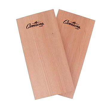Barbacoa parrilla de madera de aliso tablones – Set de 2 tablas de madera con recetas