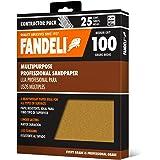 "Fandeli 36025 100 Grit Multipurpose Sandpaper Sheets, 9"" x 11"", 25-Sheet"