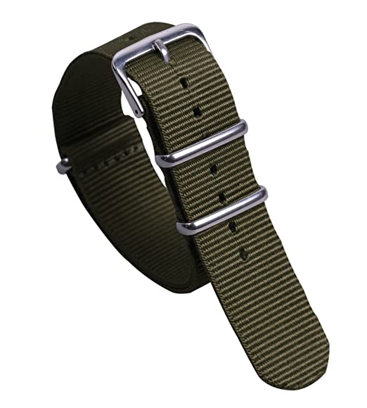 8a38a671fe2 20 millimetri esercito svago militare stile verde NATO nylon balistico  sostituzione cinturino cinturino per gli uomini  Amazon.it  Orologi