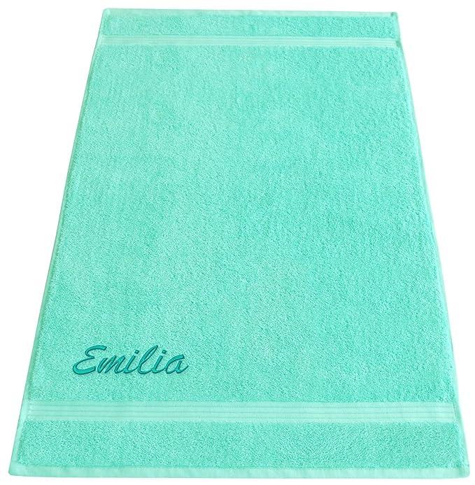 Lashuma Toalla con nombre bordado - Rizo Serie Linz - En 16 colores y 6 tamaños a elegir: Mano Toalla Toalla de ducha toalla de sauna, 100 % algodón, ...