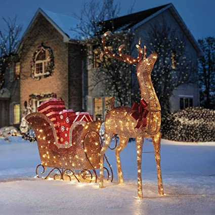 large buck reindeer sleigh display outdoor christmas decoration sculpture - Outdoor Christmas Sleigh Decorations